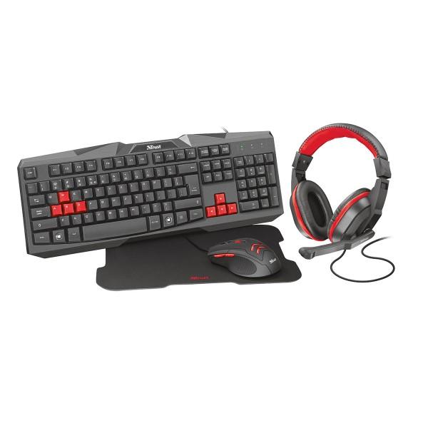 Trust ziva 4 en 1 gaming bundle negro rojo equipo gaming para pc